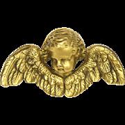 Gilded Brass Cherub Head Pin - ALVA
