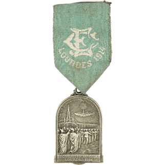 French Lourdes 1914 Double Sided Medal with Ribbon - PENIN PONCET