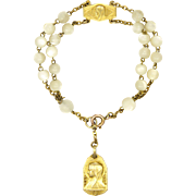 French Gold Filled and Mother of Pearl Dizainier Rosary Bracelet
