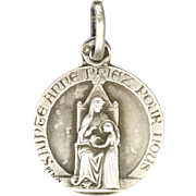 French Silver St.  Anne and Mary Medal or Charm - PENIN