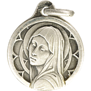 French Art Deco Small Silver Virgin Mary Medal - CHARL