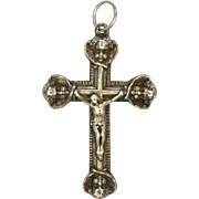 French Victorian Silver Crucifix with Cherubs' Heads