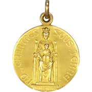 French 18K Gold Filled Our Lady of Chartres Medal - L O Mattei