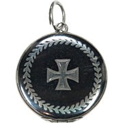 European Silver Niello Double Sided Cross Locket