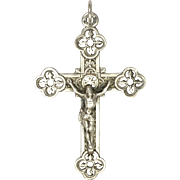 French Victorian Silver Gothic Style Crucifix