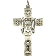 French Silver Plated Cross of Jesus and St. Veronica's Veil - Penin Poncet