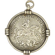 French 19C Silver St George Medal or Pendant