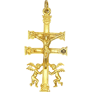 Spanish CARAVACA Gold Plated Crucifix with Angels