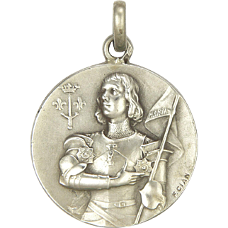 French 1909 Silver Joan of Arc Medal Pendant
