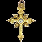 French Antique 18K Gold Filled 'Jeannette' Cross Pendant