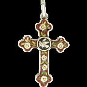 Italian Silver Micro-Mosaic Pendant Cross