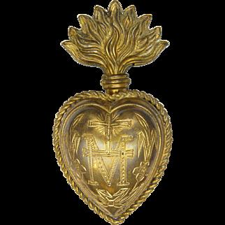 French 19C Ex-Voto Gilt Brass Heart Pendant