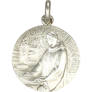 French Silver St. Bernard of Clairvaux Medal -TRICARD