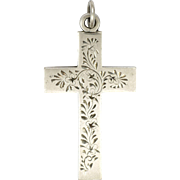 English 1900 Sterling Silver Engraved Cross