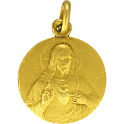 French 18K Gold Filled Jesus and Sacred Heart Small Medal