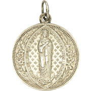 French 1870 Silver Virgin Mary Nun's Medal