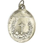 French 19C Silver Baby Jesus and Sacred Heart Medal - GOSSET