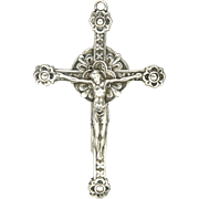 Large Art Deco Silver Double Sided Crucifix