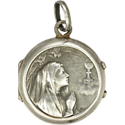 French Circa 1910 Silver Small First Communion Locket