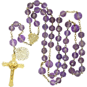 Antique Natural Amethyst and Silver Rosary