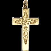 Victorian 9K Gold Small Box Shape Engraved Cross Pendant