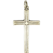 English Victorian Sterling Silver Engraved Cross Pendant - Adie and Lovekin