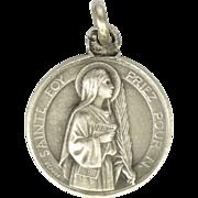 French Circa 1910 Silver Saint Faith Medal or Charm