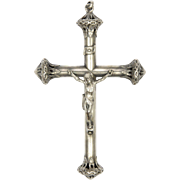 Large French Victorian Silver Crucifix  - 3¼""