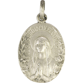 French Silver Our Lady Of Lourdes Medal