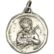 French Large Silver John the Baptist Child Heavy Medal