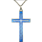 French Vintage 950 Silver Enamel Cross and Chain - Sharmaine of Paris