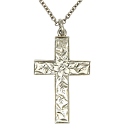 English Edwardian Sterling Silver Engraved Cross and  Chain