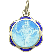 French St Christopher Silver Enamel Medal or Charm