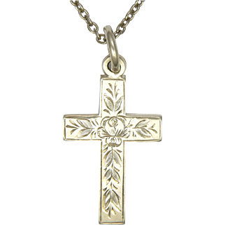 Victorian 1897 Sterling Silver Engraved Cross and Chain