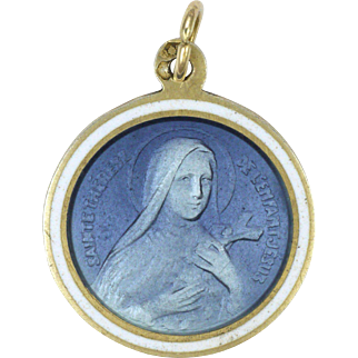 French Circa 1900- 1910 St Therese of Lisieux Silver Enamel Medal or Charm
