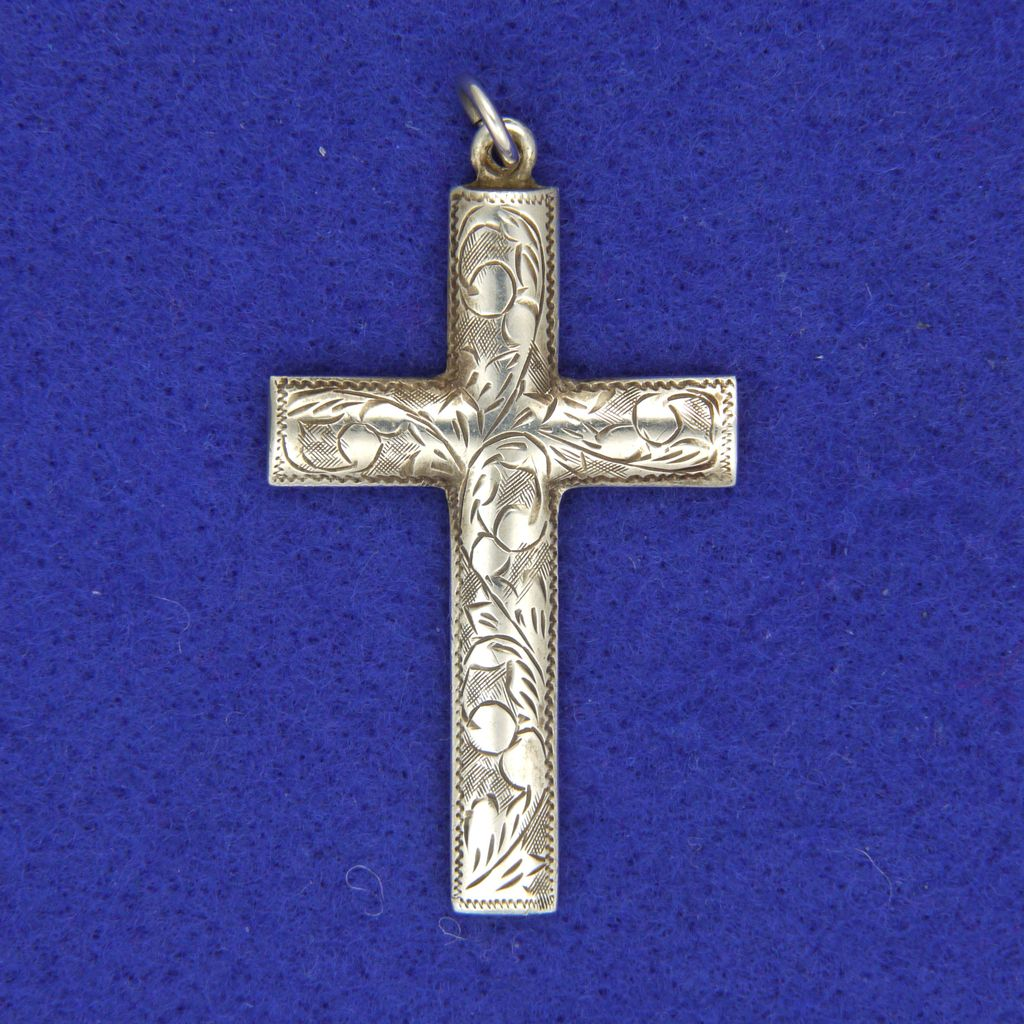 Victorian sterling silver engraved cross pendant from victorian sterling silver engraved cross pendant mozeypictures Choice Image