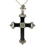 Sterling Silver Onyx and Marcasite Cross and Chain