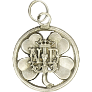 French Art Nouveau Silver Clover and Our Lady Pendant or Charm