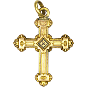 French 19C Small Gold Filled 'Jeannette' Cross - ORIA