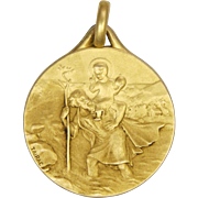 French Circa 1910 Gold Filled St. Christopher Medal - FIX