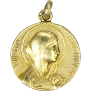 French Circa 1900 Silver Vermeil Virgin Mary Medal - F VERNON