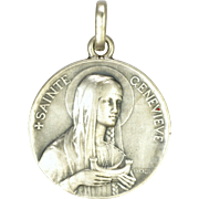 French Antique St Genevieve  Silver Double Sided Medal - BECKER