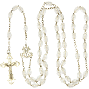 French Art Nouveau Silver and Crystal Glass Rosary
