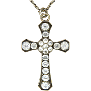 French Early Victorian or Georgian Silver Paste Cross Pendant