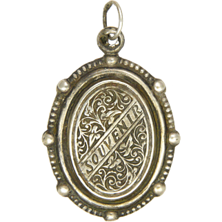 French Antique Silver Souvenir of Lourdes Double Sided Pendant