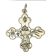 French Antique 1895 Silver Communion Cross