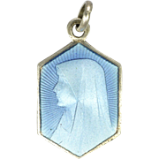 French Art Deco Silver Enamel Virgin Mary Charm