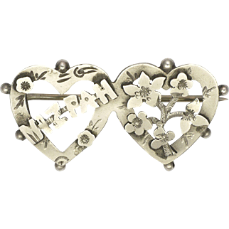 English 1918 Sterling Silver 'MIZPAH' Hearts Pin