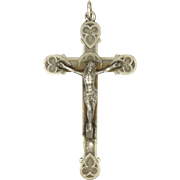 French Antique Silver Gothic Crucifix