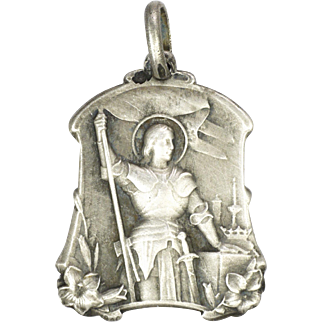French Late 19th Century Joan of Arc Silver Medal or Charm